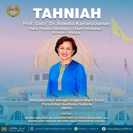 Agong expresses pride in Dr Adeeba's appointment as WHO Science Council member