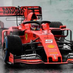 German F1 driver Sebastian Vettel powers his Ferrari at the Interlagos racetrack in Sao Paulo, Brazil, on Nov 15, 2019, during the first free practice for the Brazilian Formula One GP. . — AFP