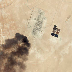 This satellite overview handout image obtained Sept 16, courtesy of Planet Labs Inc. shows damage to oil/gas infrastructure from weekend drone attacks at Haradh Gas Plant on Sept 14 in Saudi Arabia. — AFP