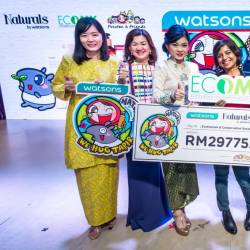 Loh (third from left), Elena, Pocotee & Friends founder Dylan Ang and Watsons personnel.
