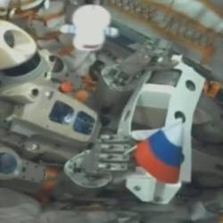 A still image, taken from a video footage and released by Russian space agency Roscosmos, shows robot Skybot F-850, also known as FEDOR, inside the Russian Soyuz MS-14 spacecraft carried by Soyuz-2.1a booster after the launch from the Baikonur Cosmodrome, Kazakhstan Aug 22, 2019. - Reuters