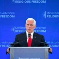 US Vice President Mike Pence addresses a ministerial meeting at the State Department on religious freedom US Vice President Mike Pence addresses a ministerial meeting at the State Department on religious freedom. — AFP