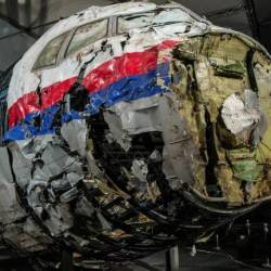 The reconstructed wreckage of Malaysia Airlines flight MH17 which crashed over Ukraine in July 2014 is seen in Gilze Rijen, Netherlands on Oct 13, 2015. — Reuters