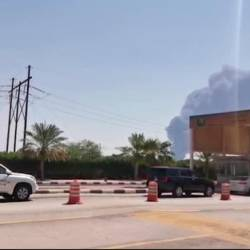This AFPTV screen grab from a video made on Sept 14, 2019, shows smoke billowing from an Aramco oil facility in Abqaiq about 60km southwest of Dhahran in Saudi Arabia's eastern province. — AFP