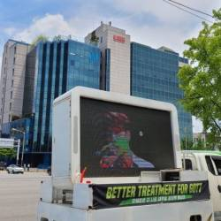 Ahgases demand better treatment for GOT7 with protest truck