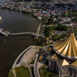 A view of the Sarawak State Legislative Assembly building from the air on April 10, 2019. — Bernama