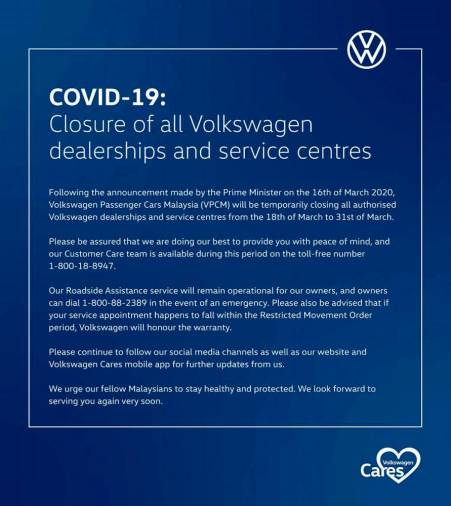 $!Covid-19: VW dealerships, service centres closed from today, volks!