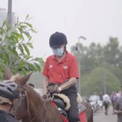 Screenshot of Prime Minister Tun Dr Mahathir Mohamad riding a horse, at Universiti Putra Malaysia Equine Centre, on Sept 15, 2019.