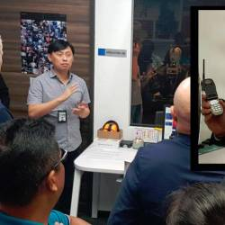Motorola Solutions Malaysia senior engineering manager Tan Chian Meng talking to the media. Inset: Deputy managing director and global supply director John Andersen.