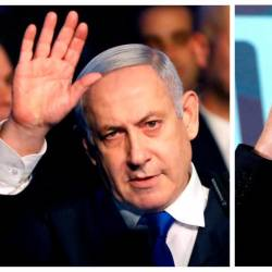 A combination picture shows Israeli Prime Minister Benjamin Netanyahu in Tel Aviv, Israel November 17, 2019, and leader of Blue and White party Benny Gantz in Tel Aviv, Israel November 20, 2019. - Reuters