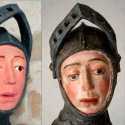 This combination of pictures created on June 24, 2019 of handout pictures released by the press office of the Navarra Government show a sculpture of Saint George before and after restoration. — AFP