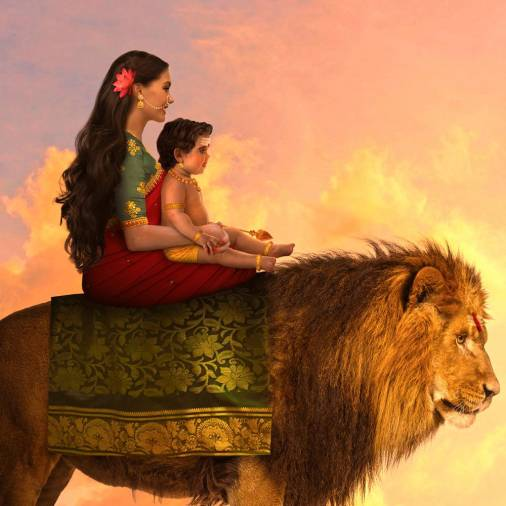 Goddess Parvati and Lord Murugan out for a sightseeing trip on her Vahana (vehicle), a lion. – Picture courtesy of Rames Harikrishnasamy
