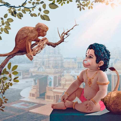 A devotee of Lord Hanuman giving Him a gift of a statue of Lord Rama carved from wood. – PICTURE COURTESY OF RAMES HARIKRISHNASAMY