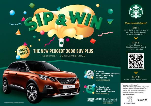 Spend at Starbucks to win a Peugeot SUV
