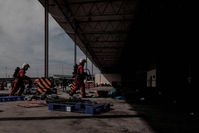 Full Scale Exercise at the KL International Airport Cargo Area successfully carried out as part of the airport's readiness towards crisis management . - ASHRAF SHAMSUL/THESUN