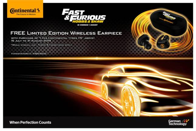 Buy Continental tyres, get Fast & Furious wireless earpiece