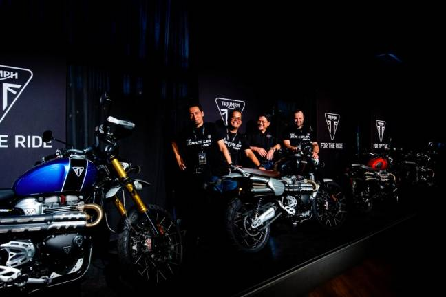 Triumph Motorcycles exclusive official distributor in Malaysia is Fast Bikes Sdn Bhd. Standing from left is its brand, events and marketing manager Ainul Azwan, sales and branch operations manager Arie Razak, CEO Datuk Razak Al Malique and head of aftersales Panagiotis Mavrikos.