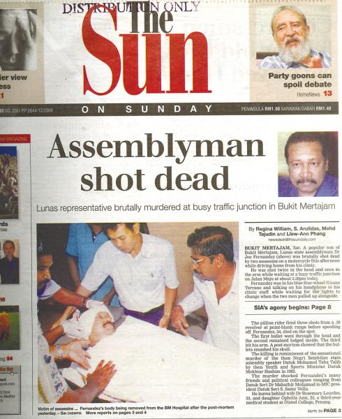 Our front page report on the assassination on Nov 5, 2000.