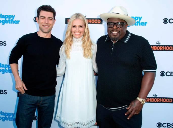 "(FILES) In this file photo taken on October 1, 2018 (L-R) Actors Max Greenfield, Beth Behrs and Cedric the Entertainer attend the The CBS's ""The Neighborhood"" and ""Happy Together"" Social Happy Hour Viewing Party in Los Angeles, California.- AFP / VALERIE MACON"