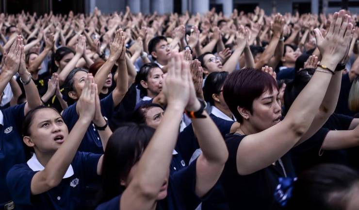 Devotees, volunteers, and Buddhist monks participate in the Buddha bathing ceremony in conjunction with Mother's Day, Wesak Day and Global Tzu Chi's Day at Tzu Chi Foundation Malaysia at Kuala Lumpur Jing-Si Hall, Jalan Kepong.