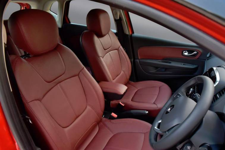 Maroon combination leather seats.