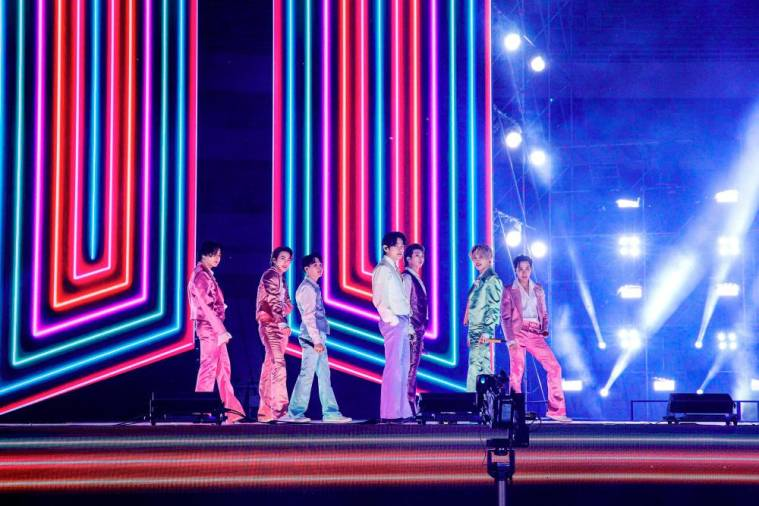 In this handout image courtesy of ABC Boy band BTS performs during the 2020 American Music Awards aired from the Microsoft theatre on November 22, 2020 in Los Angeles. / AFP / American Broadcasting Companies, Inc. / ABC