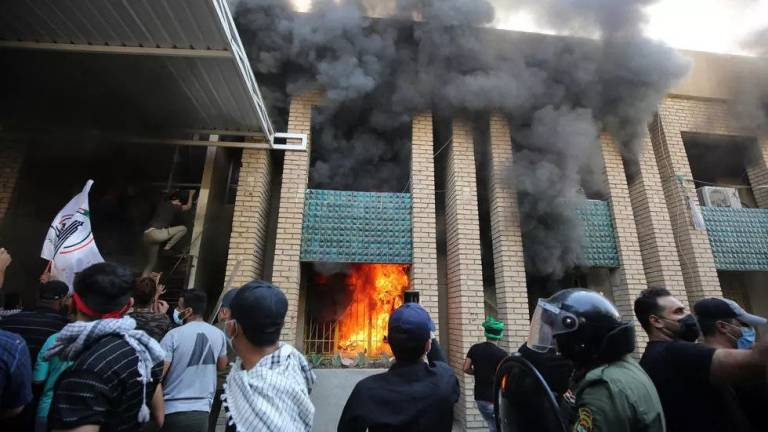 Pro-Iran protesters torch Kurd party offices in Baghdad