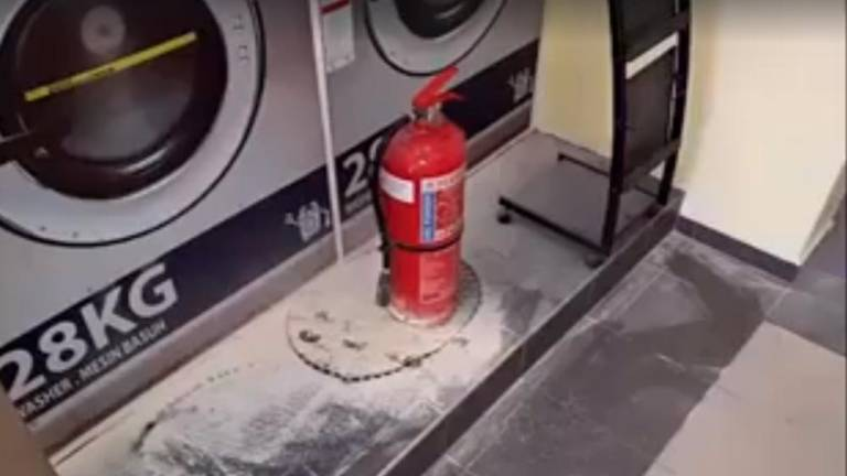 Where's the fire at the laundromat? (Video)