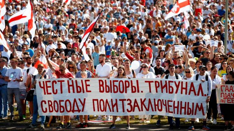 Tens of thousands of Belarus opposition supporters march in Minsk: AFP