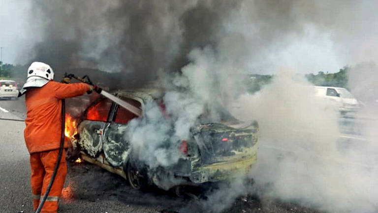 Three burnt to death after car skids and bursts into flames in Kajang