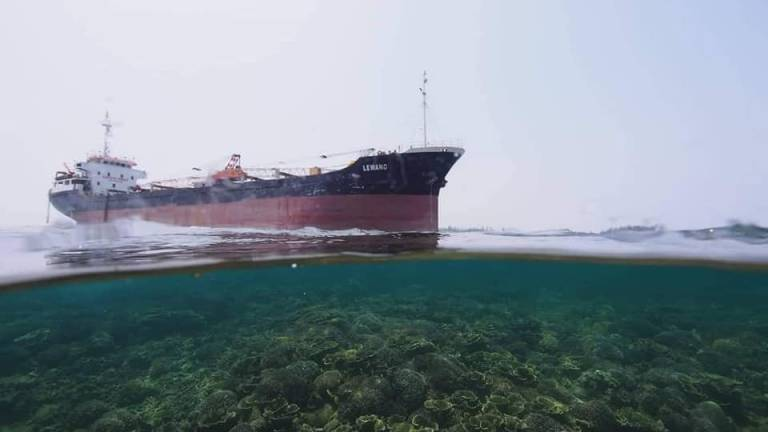 Corals damaged by stranded cargo ship in Kalampunian Island