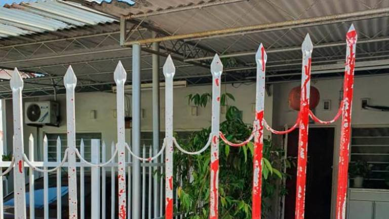 Gate of veteran journalist's home splashed with red paint