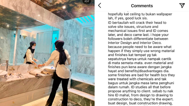 Hanis Zalikha criticised for decorating bathroom ceiling with wallpaper