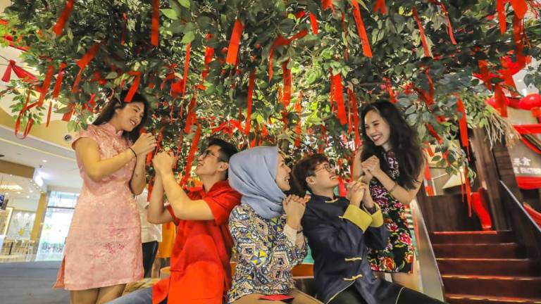 COLOURS OF JOY ... A group of friends enjoying the festive atmosphere at the 'Bank of Abundance' Chinese New Year display in Sunway Velocity Mall, Kuala Lumpur. ADIB RAWI/THE SUN