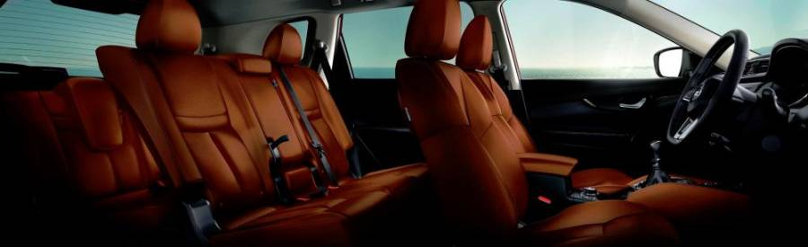 Luxurious brown nappa leather seats.