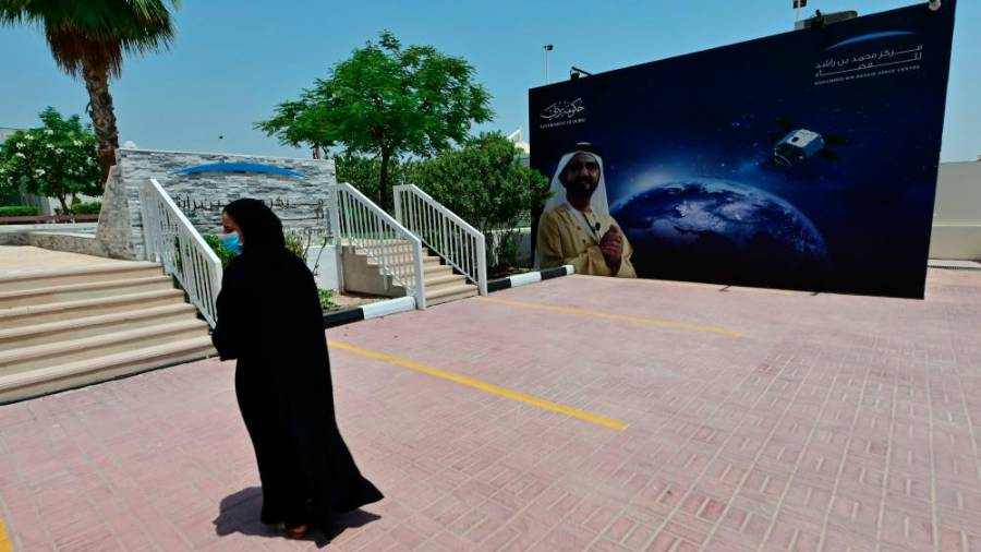 This file photo taken on July 05, 2020 shows the entrance of the Mohammed Bin Rashid Space Centre (MBRSC), in the Gulf city of Dubai. The oil-rich United Arab Emirates has built a nuclear power programme and sent a man to space, and now plans to join another elite club by sending a probe to Mars. / AFP / GIUSEPPE CACACE