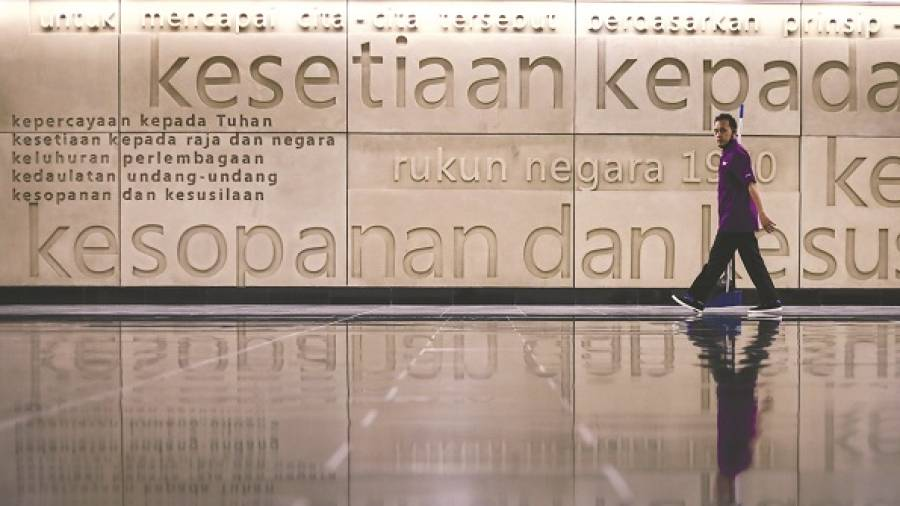 NATIONAL PHILOSOPHY ... In conjunction with the 50th anniversary celebrations of the Rukun Negara, to be launched today, its five principles are displayed at an MRT station in Kuala Lumpur. – HAFIZ SOHAIMI/THESUN