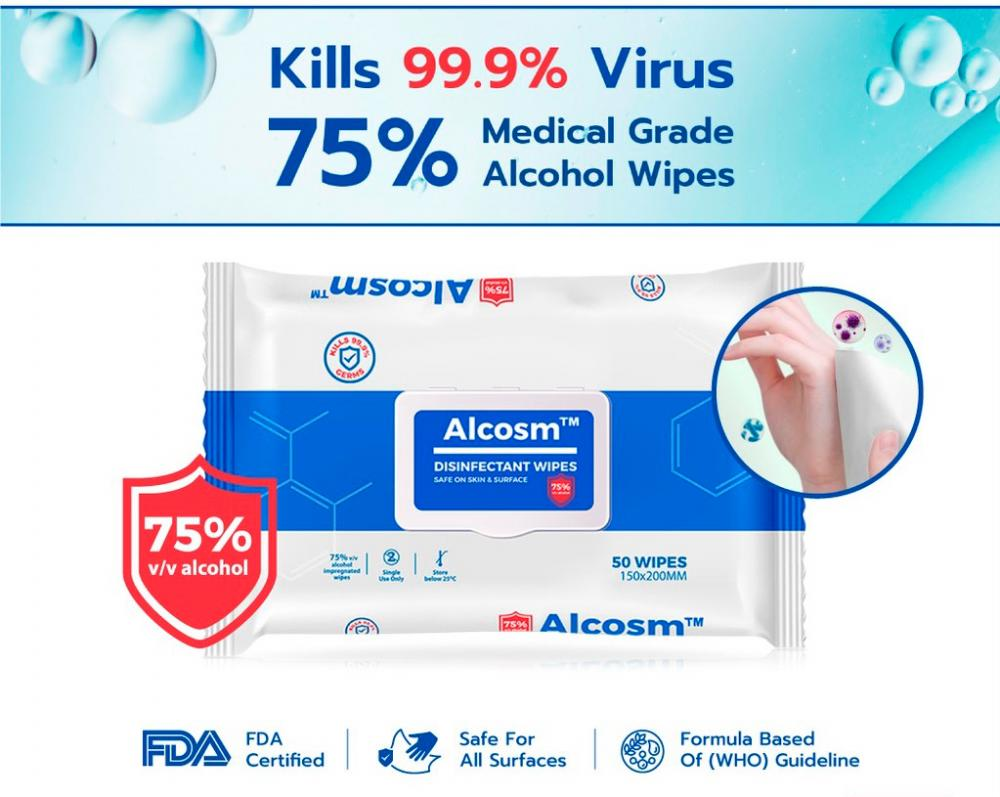 Alcosm 75% alcohol wipes available in Malaysia now