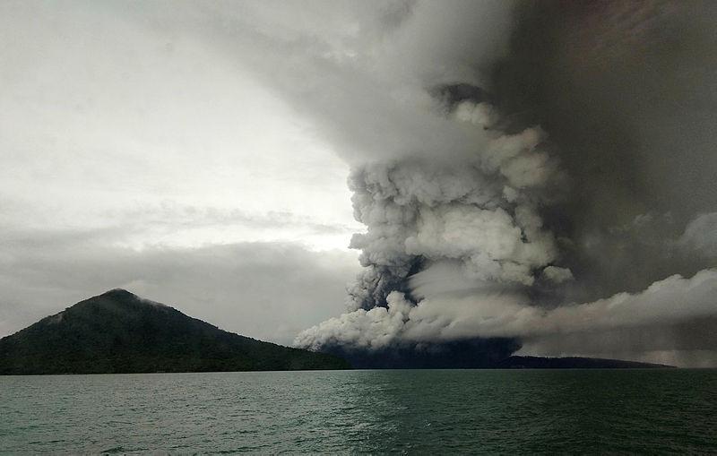 This picture taken on Dec 26, 2018 shows the Anak Krakatoa volcano erupting. — AFP
