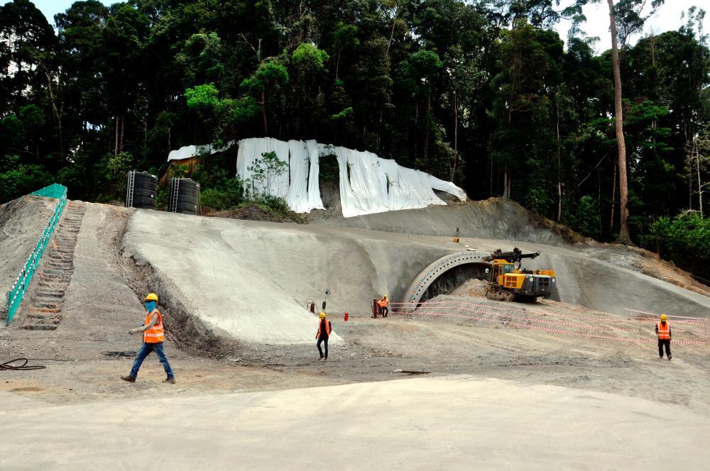 Tunnel works in progress at a ECRL site in Bukit Bauk. - BERNAMAPIX