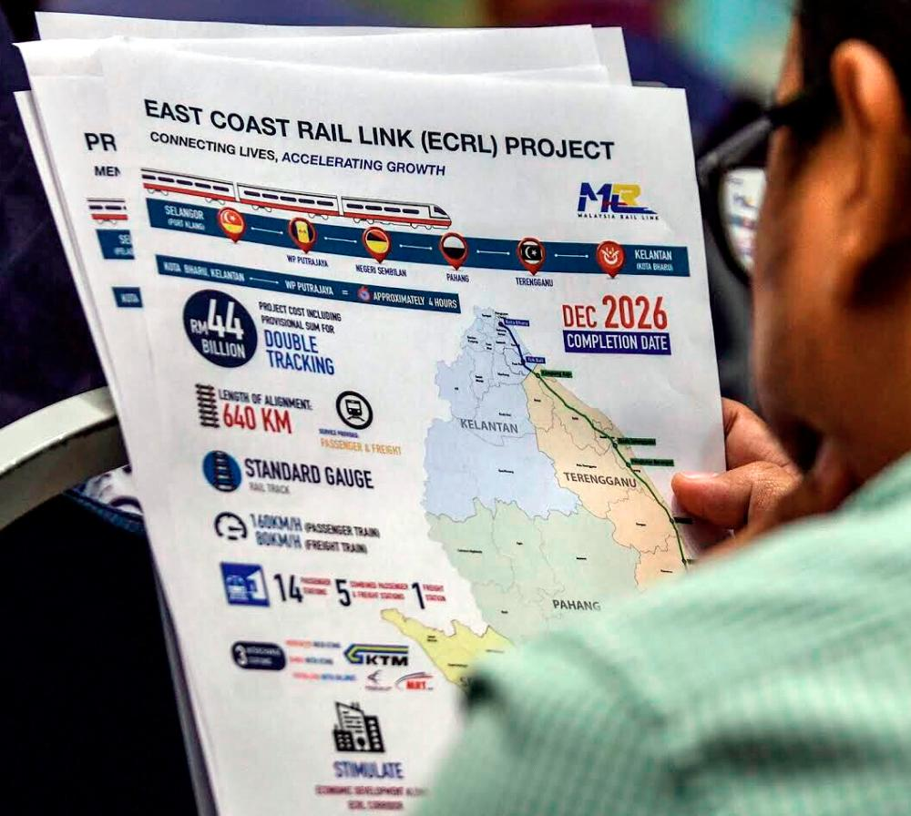 The revised ECRL project will comprise a 640km rail network to be completed by December 2026 at a cost of RM44 billion. Ashraf Shamsul/THE SUN