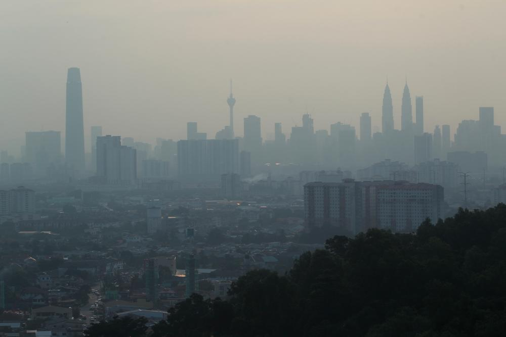 An view of the Kuala Lumpur skyline shrouded by haze on Aug 1, 2019. — BBX