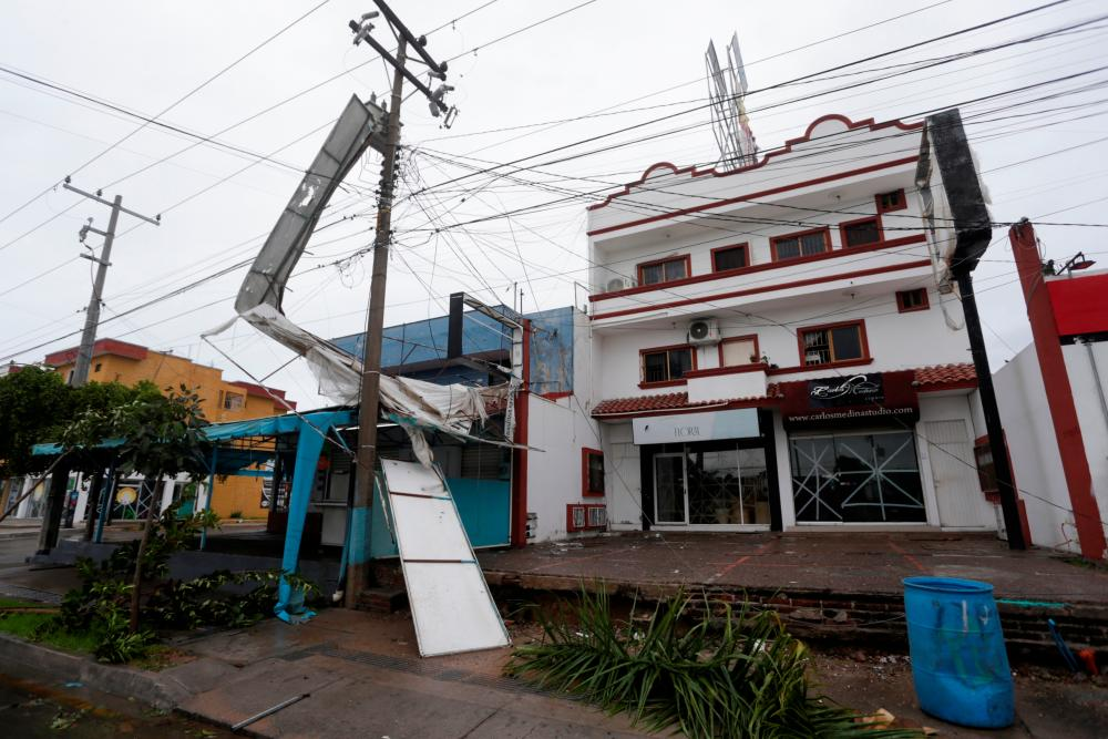 Hurricane Pamela pounds the Pacific coast resort with strong winds as it makes landfall in Mazatlan, Mexico October 13, 2021. REUTERSpix
