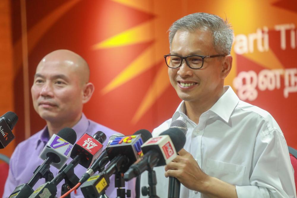 Tony Pua (R) speaks during a press conference on the attacks by MCA President, Datuk Seri Dr Wee Ka Siong against Lim Guan Eng, on Feb 11, 2019. — Sunpix by Amirul Syafiq Mohd Din