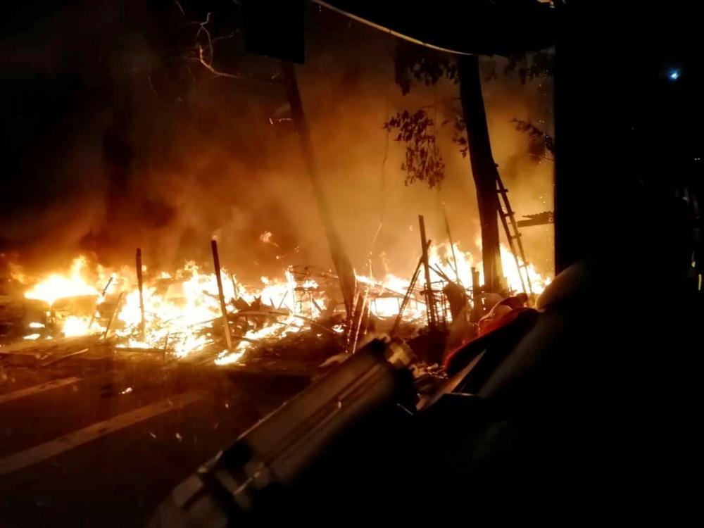 Nine vehicles were destroyed in a fire at a garage on Jalan Cantik 7, Taman Pelangi, earlier this morning. - Bernama