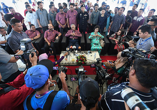 Prime Minister Tun Dr Mahathir Mohamad speaks at a press conference after attending the Permodalan Kedah Bhd (PKB) silver jubilee celebration and launch of Adya Chenang Hotel, Langkawi on March 30, 2019. — Bernama