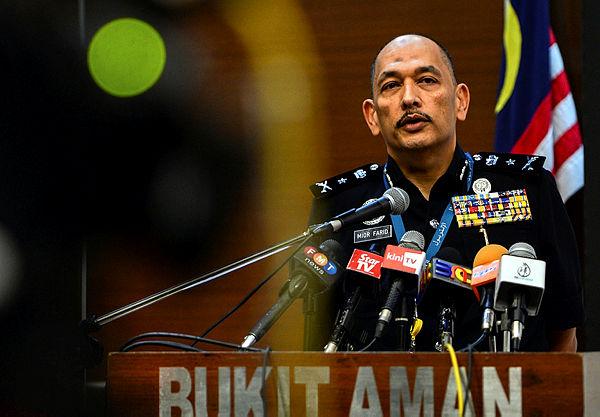 Bukit Aman CID D5 principal assistant director Senior Asst Comm Mior Faridalatrash Wahid at a press conference in Bukit Aman today. — Bernama