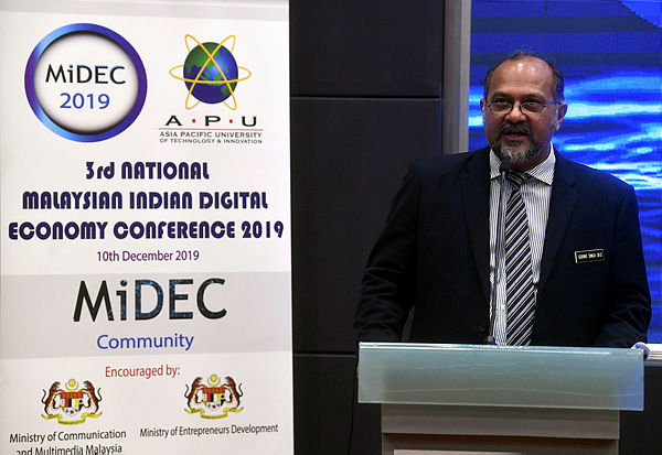 Communications and Multimedia Minister Gobind Singh Deo while giving a speech during the launch of 3rd National Malaysian Indian Digital Economy Conference 2019 at Asia Pasific University of Technology and Innovation today. — Bernama