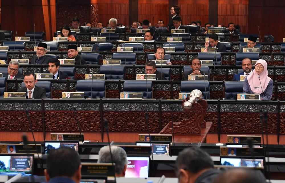 Deputy Prime Minister Datuk Seri Dr Wan Azizah Wan Ismail answers questions at the second meeting of the 14th parliamentary session on July 1, 2019. - Bernama
