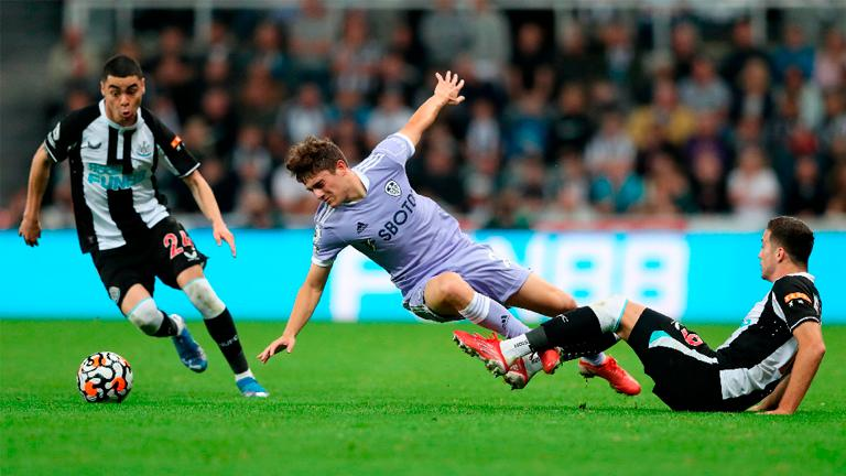 Leeds United's Daniel James (centre) in action against Newcastle United on Saturday. – REUTERSPIX